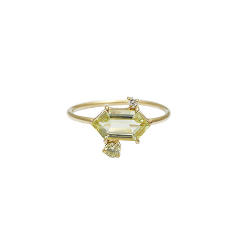 Yellow Aquamarine & Diamond Puzzle Ring