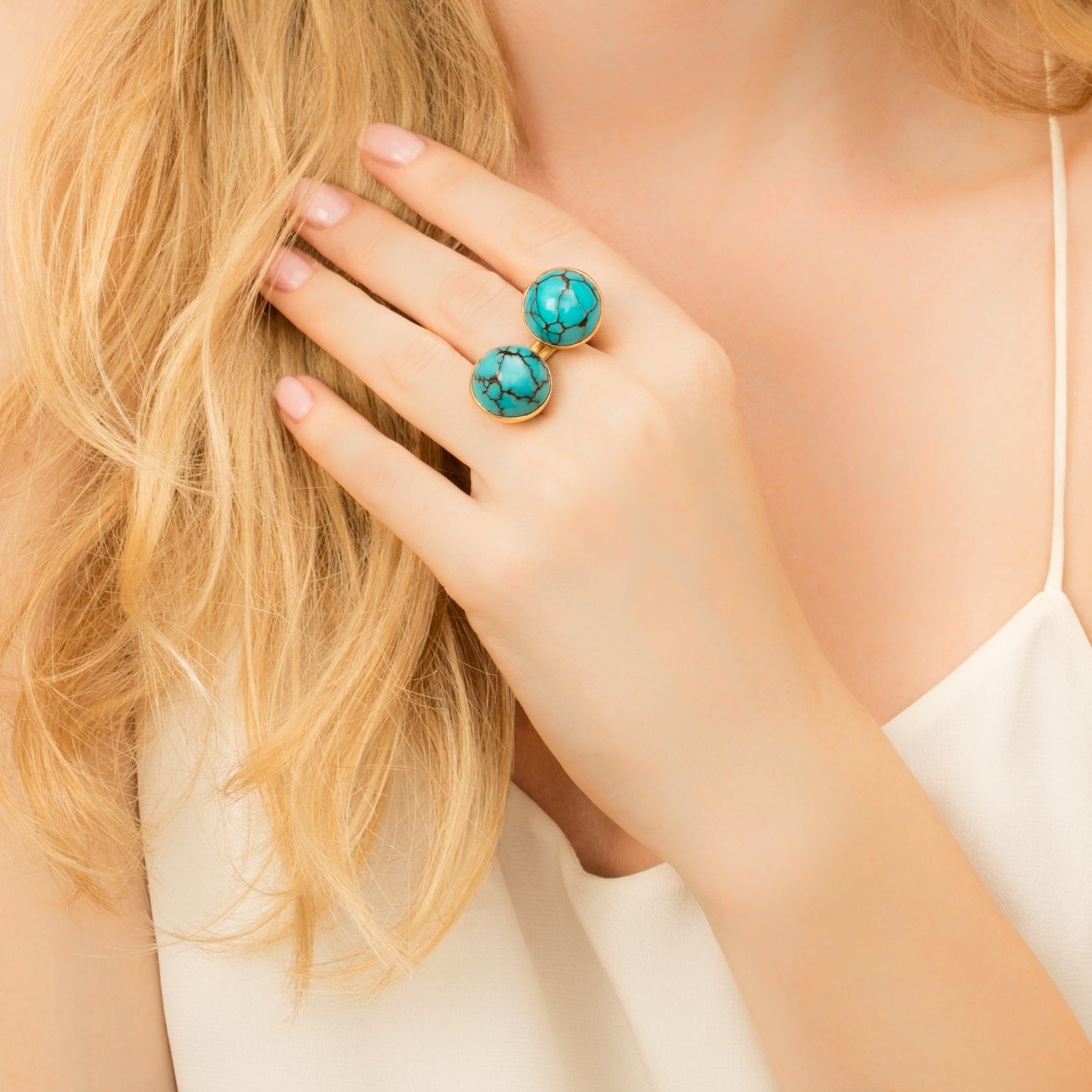 Turquoise Twin Angled Rings - Haute Victoire - Rings | Broken English Jewelry