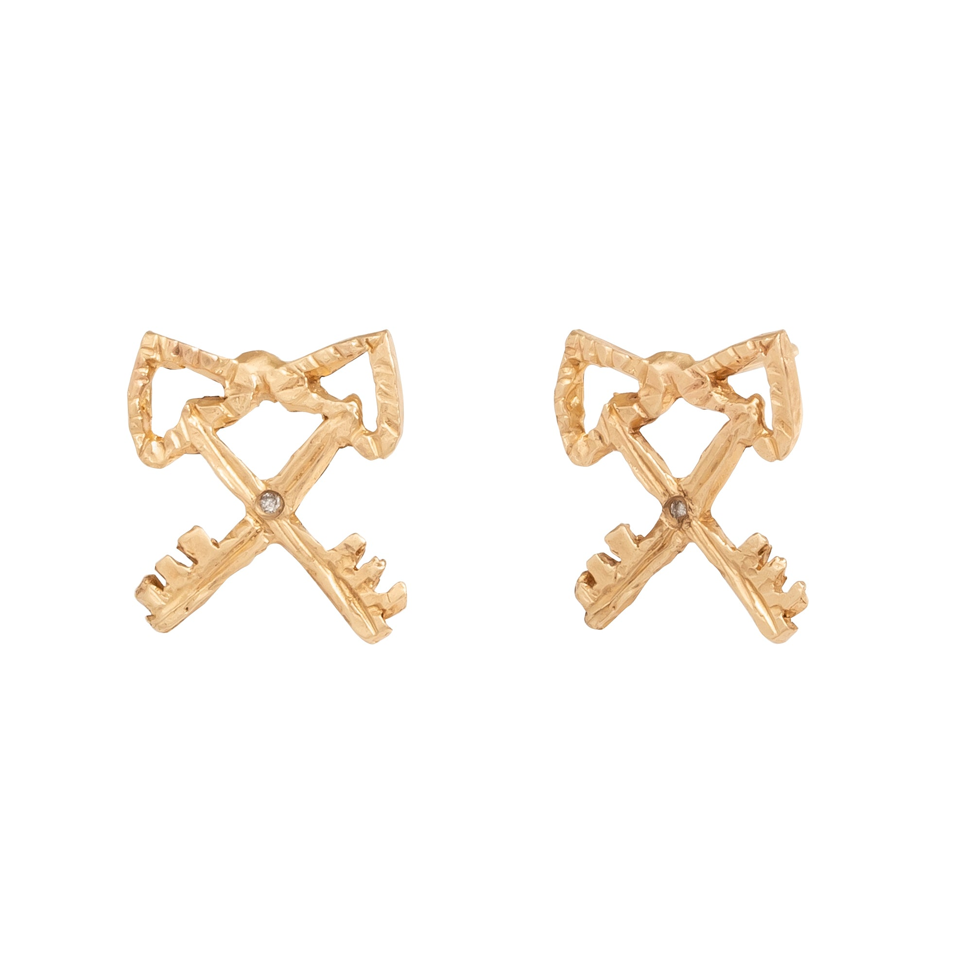 Xiao Wang IceCreamCandy - Double Heart Key Earrings - Earrings - Broken English Jewelry