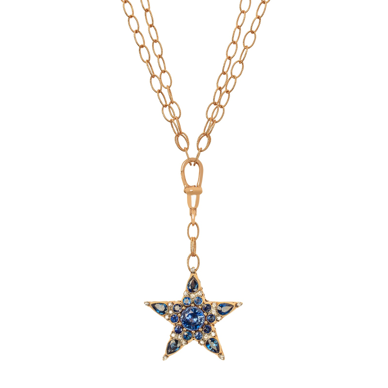 Selim Mouzannar Istanbul Star Necklace - Blue Sapphire & White Diamond - Necklaces - Broken English Jewelry