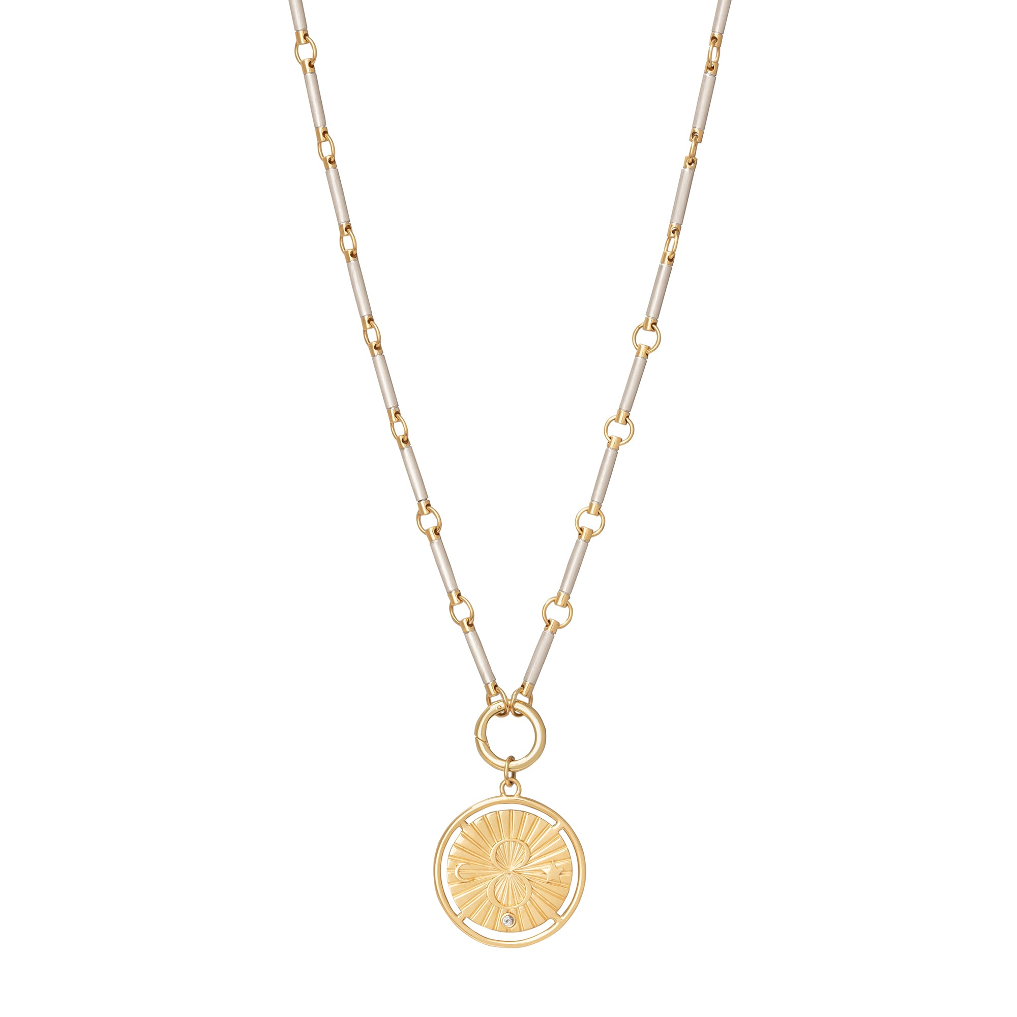 Yellow and White Gold Metal Element Chain - Foundrae - Necklaces | Broken English Jewelry