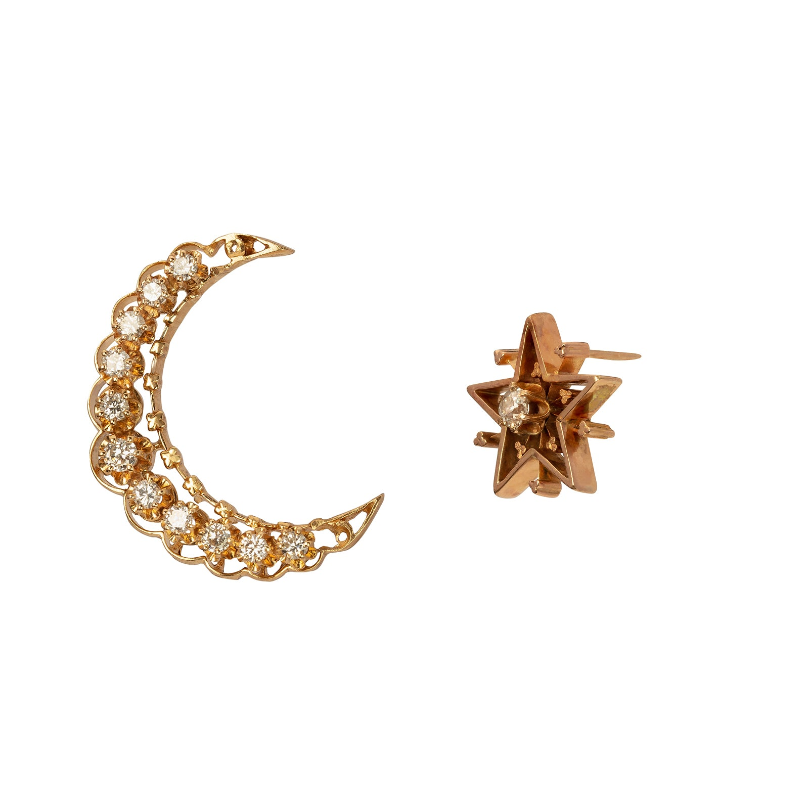 Jenna Blake Victorian Moon & Star Stud Earrings - Earrings - Broken English Jewelry