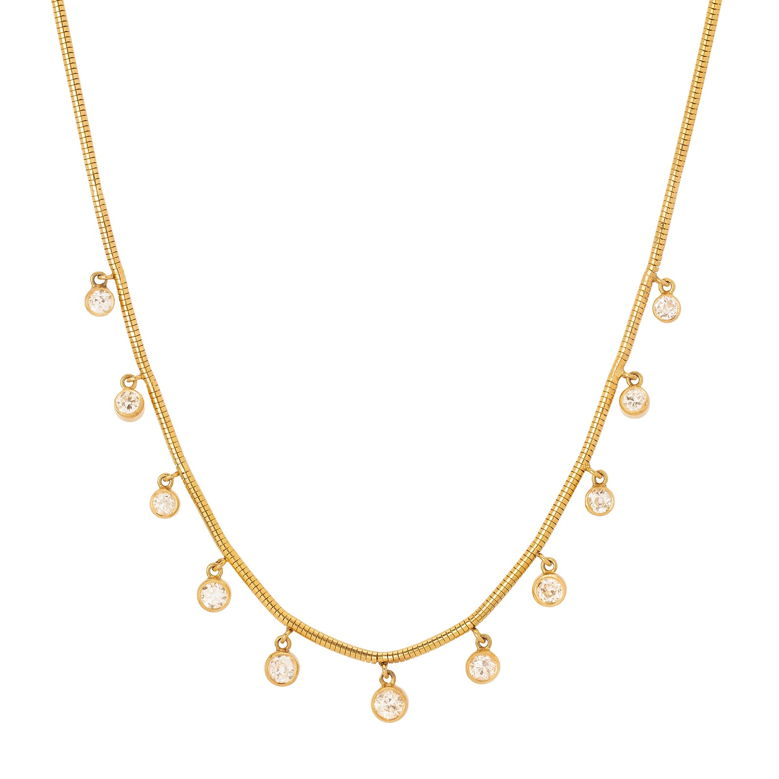 Jenna Blake Simple Diamond Bezel Fringe Necklace - Necklaces - Broken English Jewelry