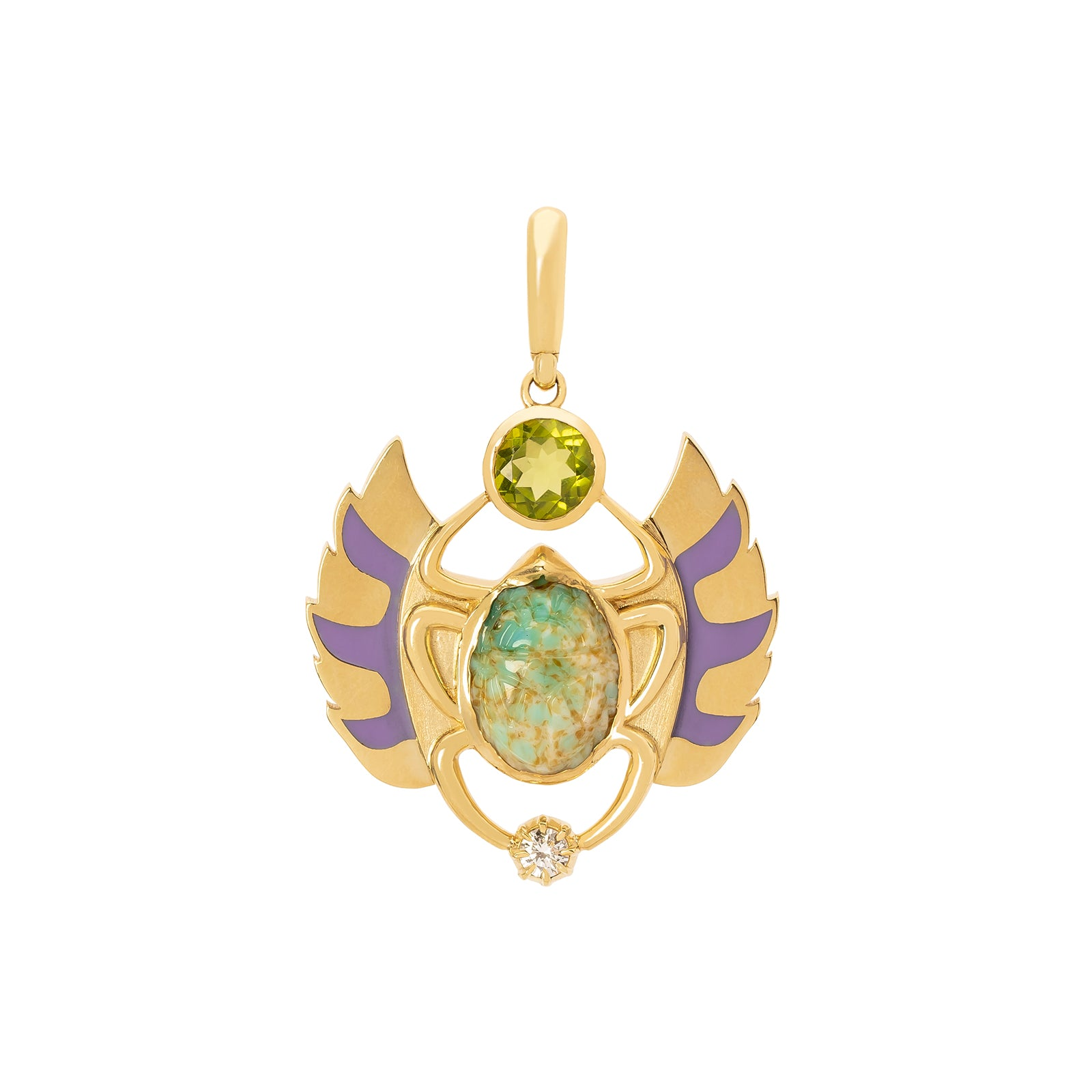 Jenna Blake Flying Peridot Scarab Pendant - Charms & Pendants - Broken English Jewelry