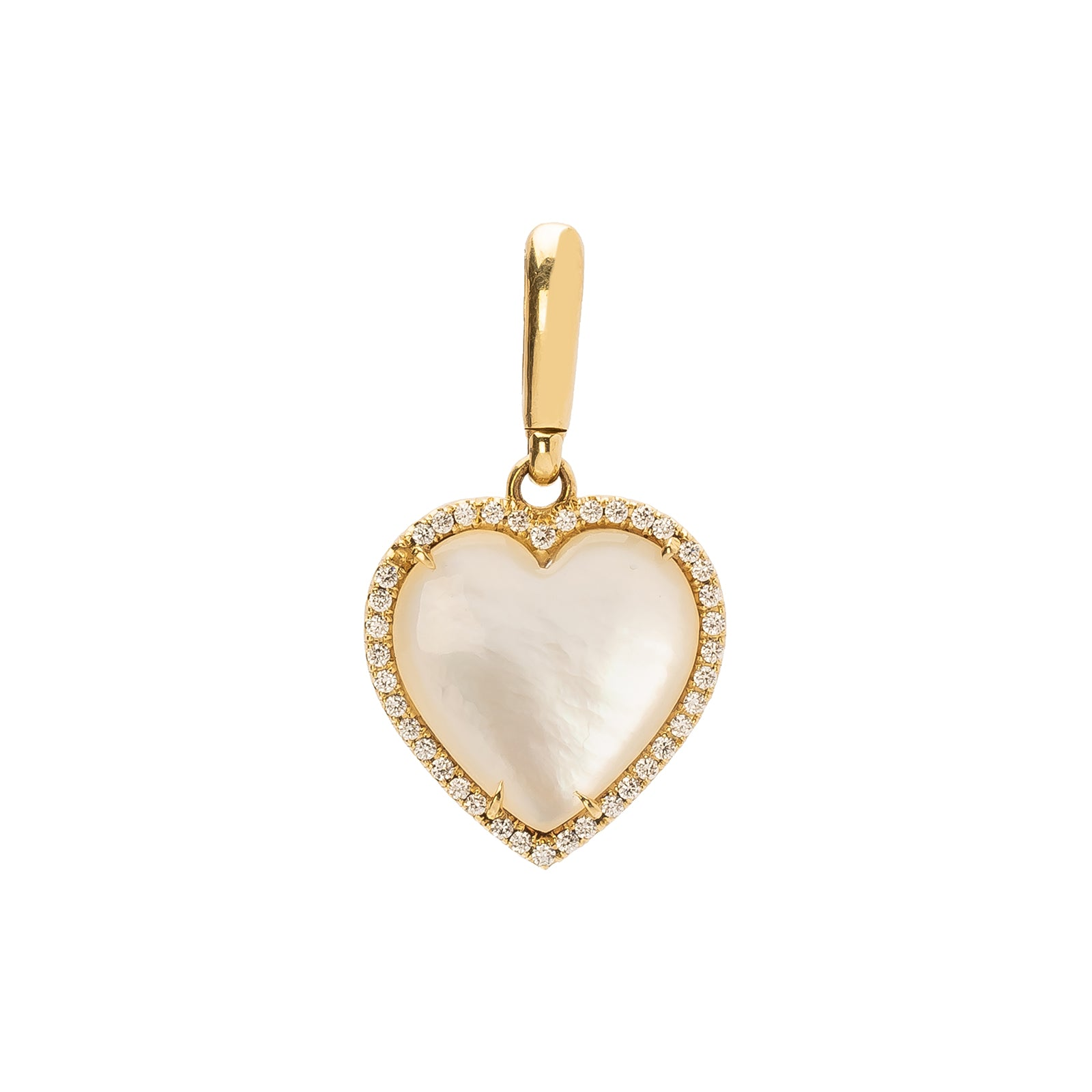 Jenna Blake Heart in Diamond Frame Pendant - Pearl - Charms & Pendants - Broken English Jewelry