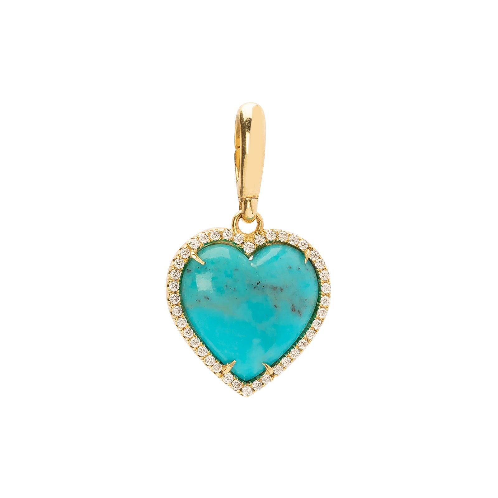 Jenna Blake Heart in Diamond Frame Pendant - Turquoise - Charms & Pendants - Broken English Jewelry