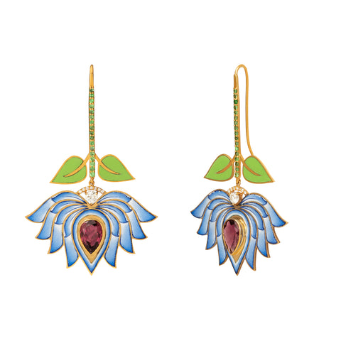 Eden Blue Lotus Drop Earrings  - Holly Dyment - Earrings | Broken English Jewelry