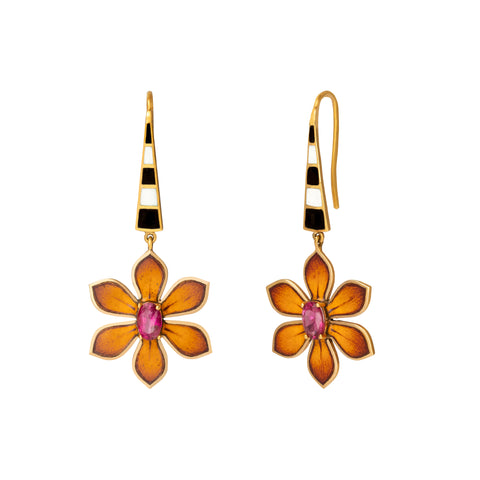 Eden Orange Flower Drop Earrings - Holly Dyment - Earrings | Broken English Jewelry