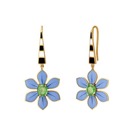 Eden Blue Flower Drop Earrings - Holly Dyment - Earrings | Broken English Jewelry