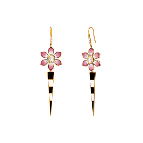 Eden Pink and White Flower Earrings - Holly Dyment - Earrings | Broken English Jewelry