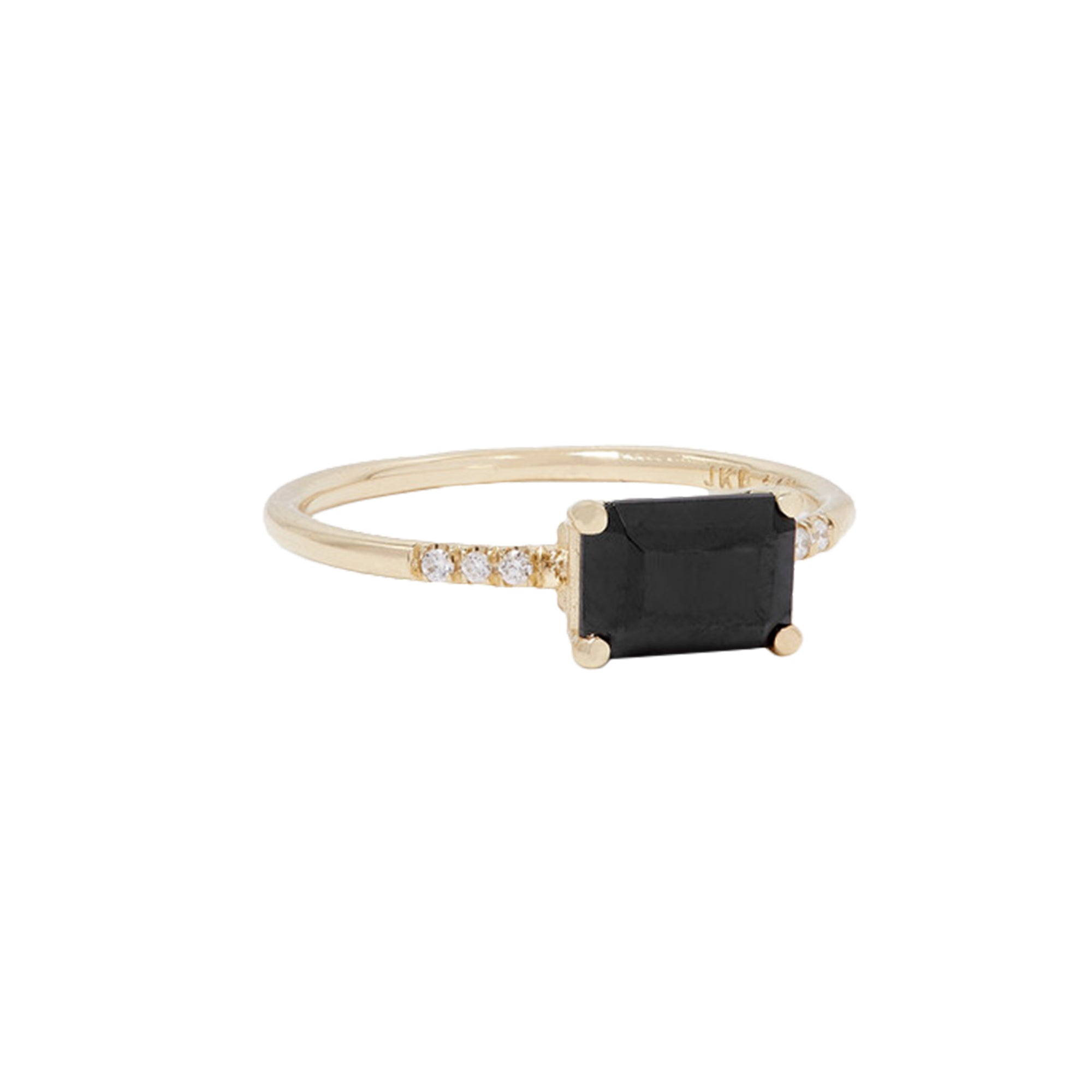 Gold White Diamond East West Onyx Equilibrium Ring by Jennie Kwon for Broken English Jewelry