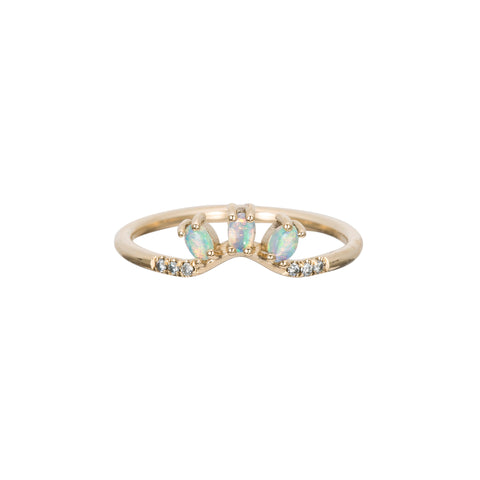 Gold & White Diamond Opal Trio Equilibrium Ring by Jennie Kwon for Broken English Jewelry