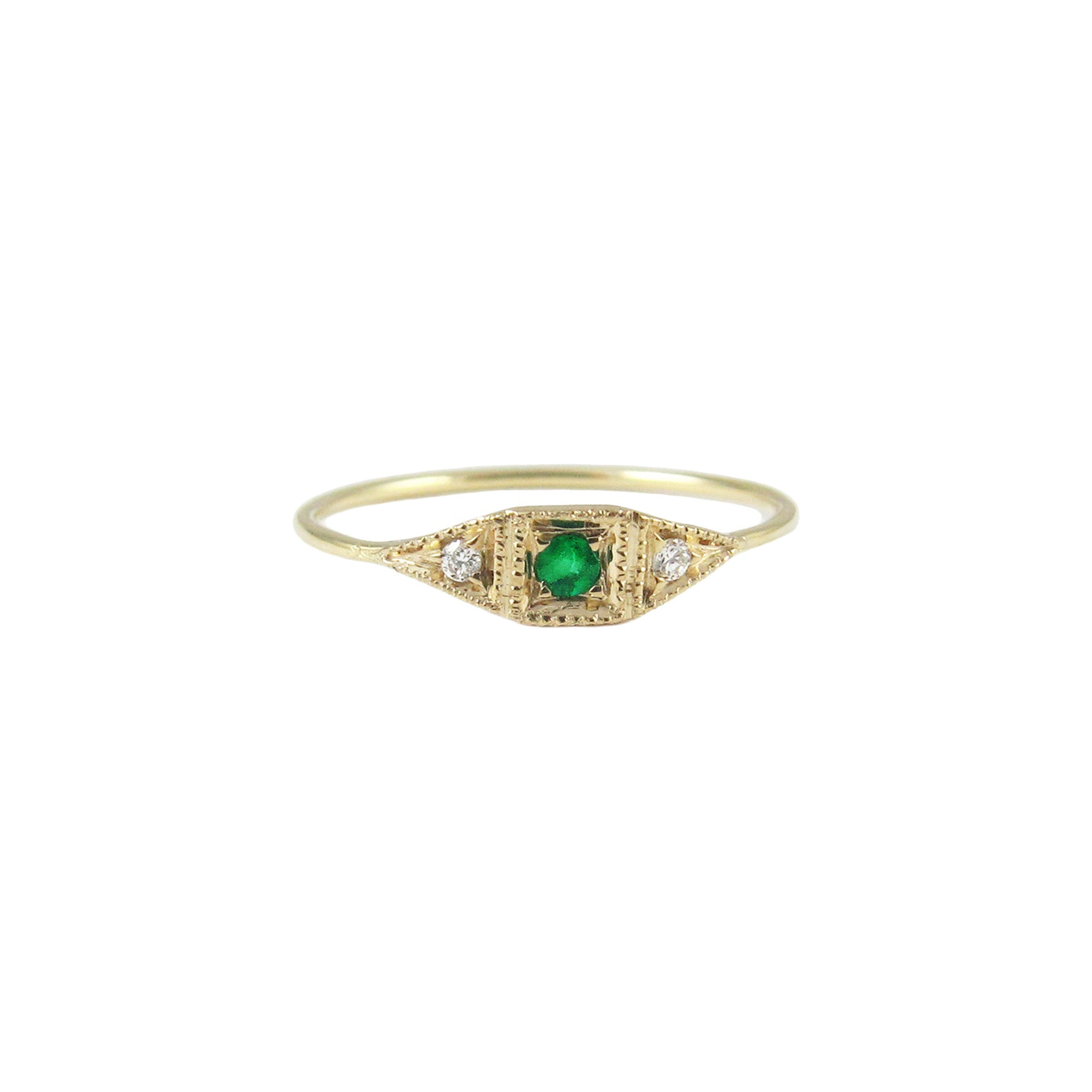 Mini Deco Point Emerald Ring