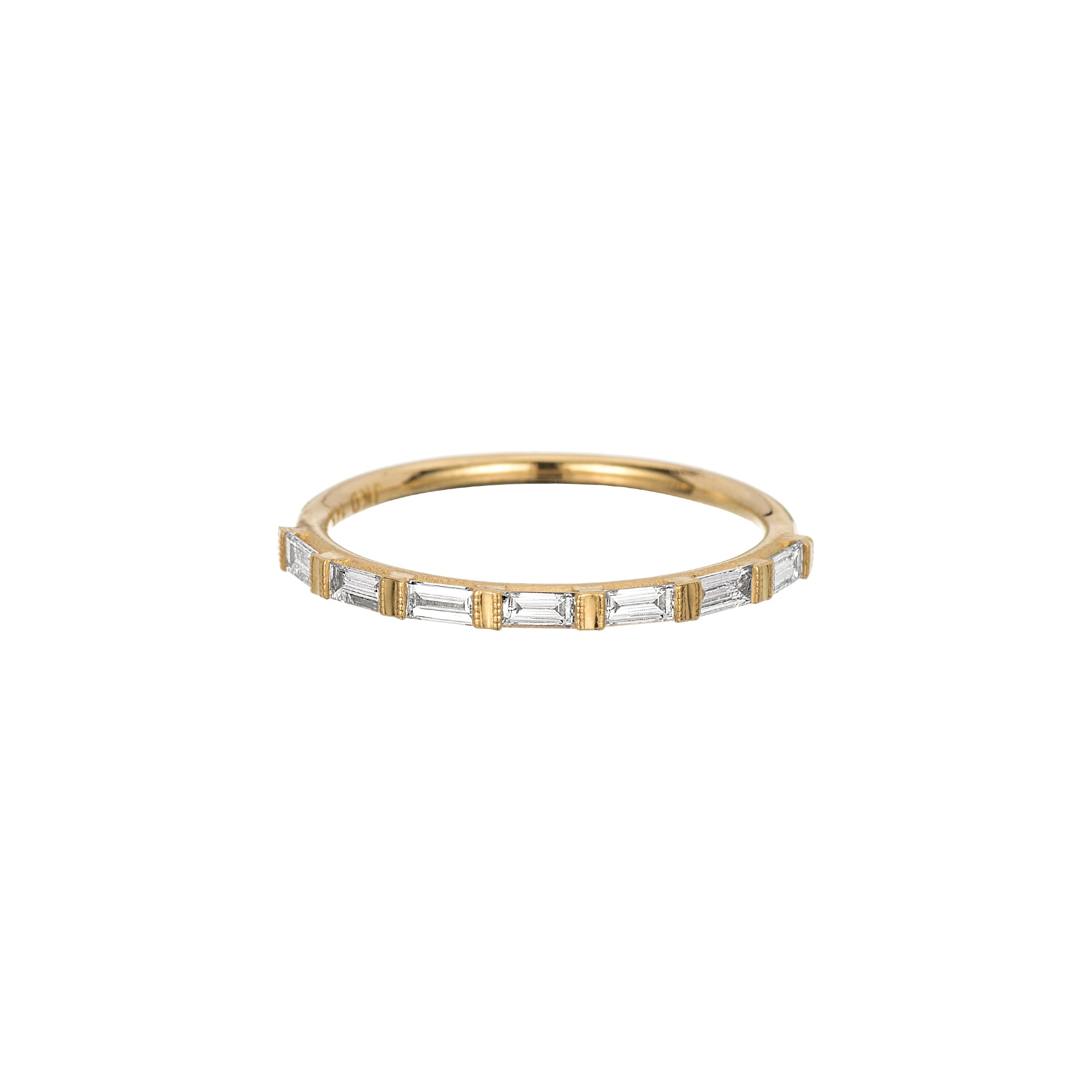 Gold & White Diamond Half Eternity Baguette Ring by Jennie Kwon for Broken English Jewelry