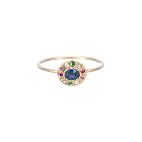 Gold & Sapphire Halo Ring by Jennie Kwon for Broken English Jewelry
