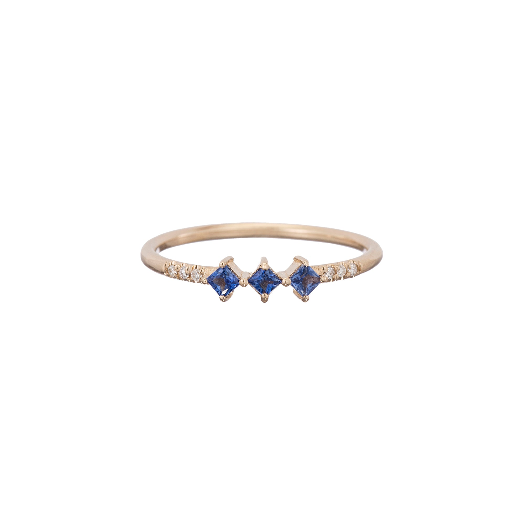 Gold White Diamond & Sapphire Harmony Ring by Jennie Kwon for Broken English Jewelry