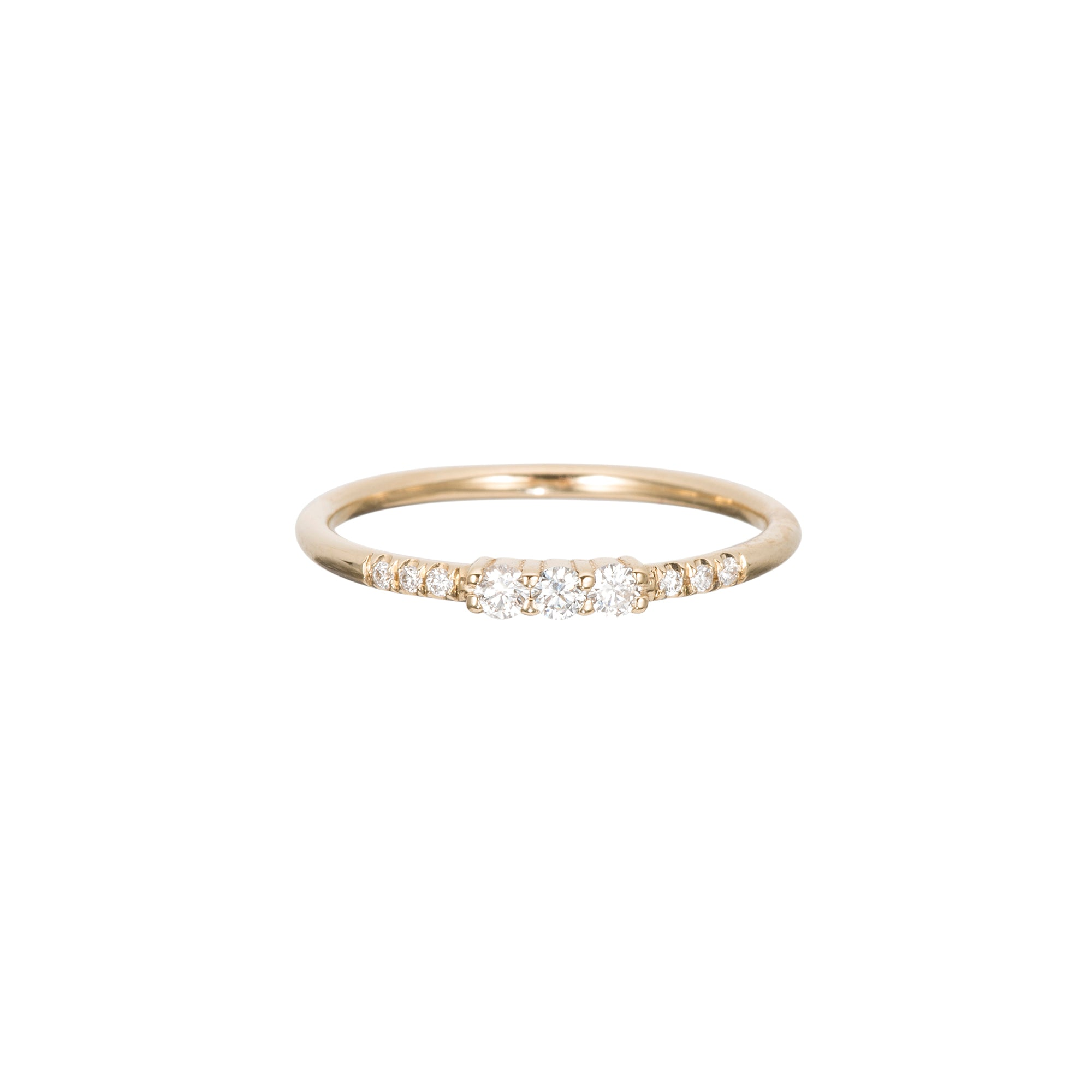 Gold Three Diamond Equilibrium Ring by Jennie Kwon for Broken English Jewelry