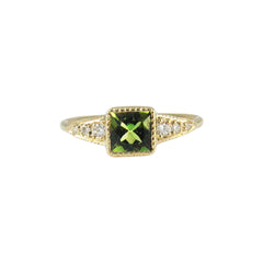 Green Tourmaline Deco Point Ring by Jennie Kwon for Broken English Jewelry