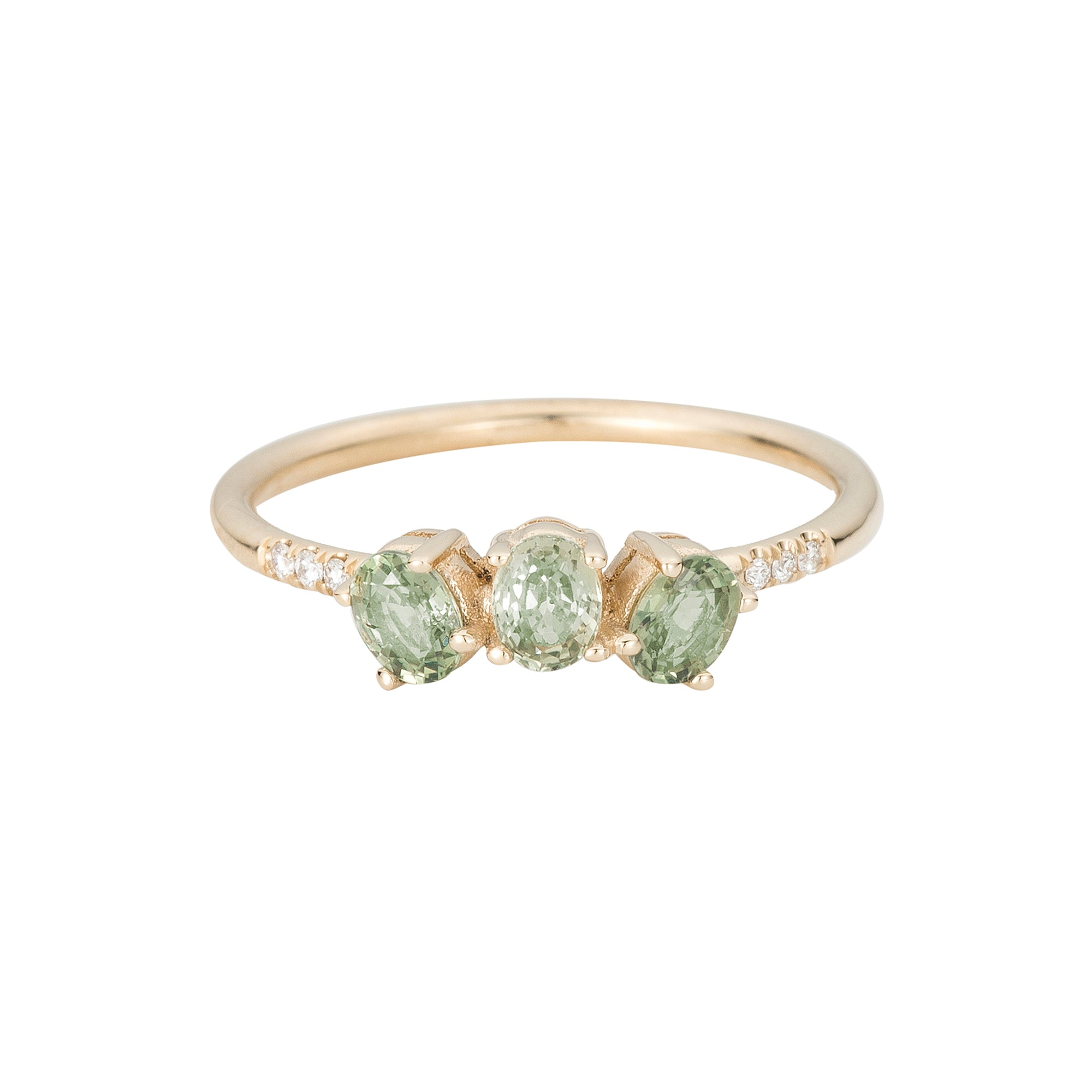 Green Sapphire Fan Ring by Jennie Kwon for Broken English Jewelry