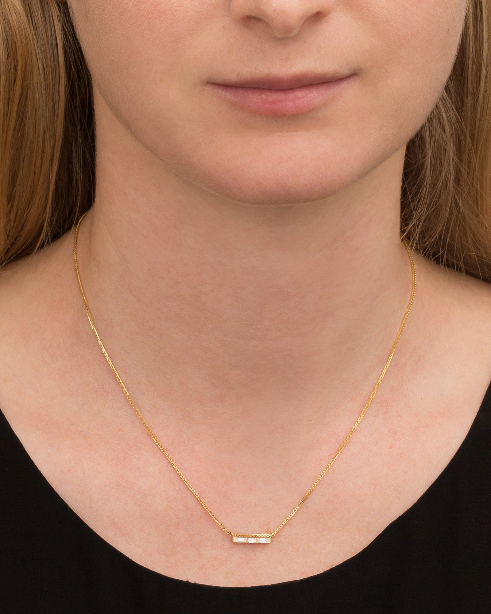 3 Baguette Necklace by Jennie Kwon for Broken English Jewelry