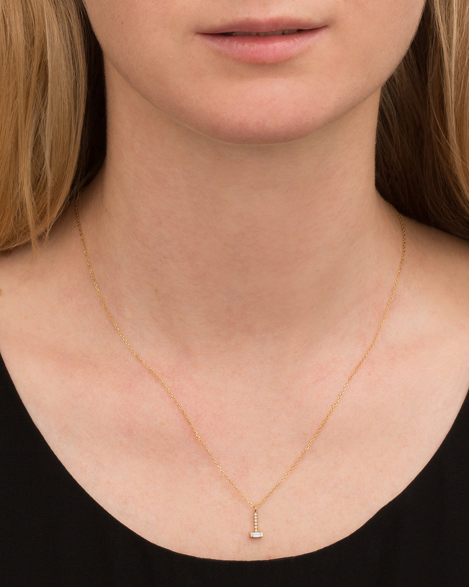 Baguette Diamond Drop Necklace by Jennie Kwon for Broken English Jewelry