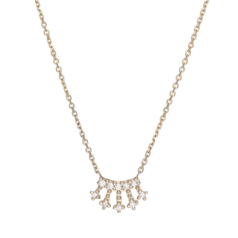 Gold White Diamond Mini Crown Necklace by Jennie Kwon for Broken English Jewelry