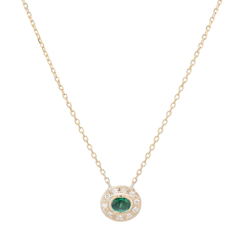 Gold White Diamond & Emerald Halo Necklace by Jennie Kwon for Broken English Jewelry
