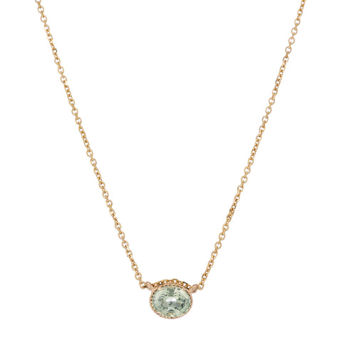 Gold & Green Sapphire Hope Necklace by Jennie Kwon for Broken English Jewelry