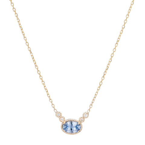 Gold White Diamond & Ceylon Sapphire Diamond Dew Necklace by Jennie Kwon for Broken English Jewelry
