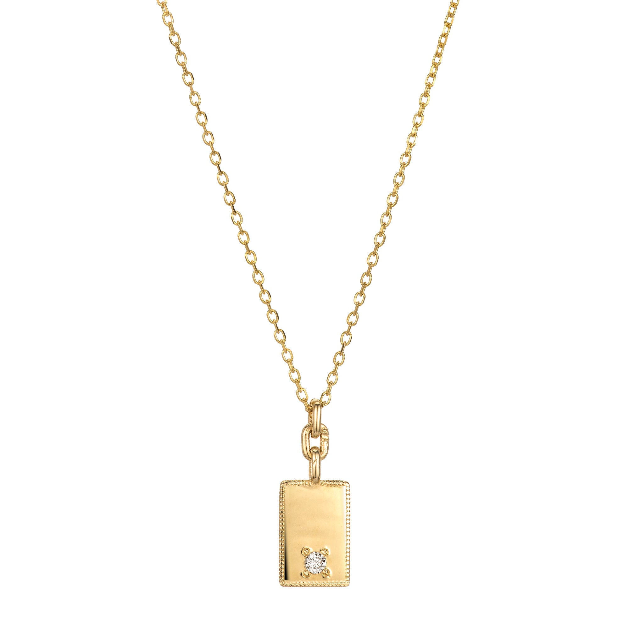 Gold Rectangle Diamond Mirror Pendant by Jennie Kwon for Broken English Jewelry