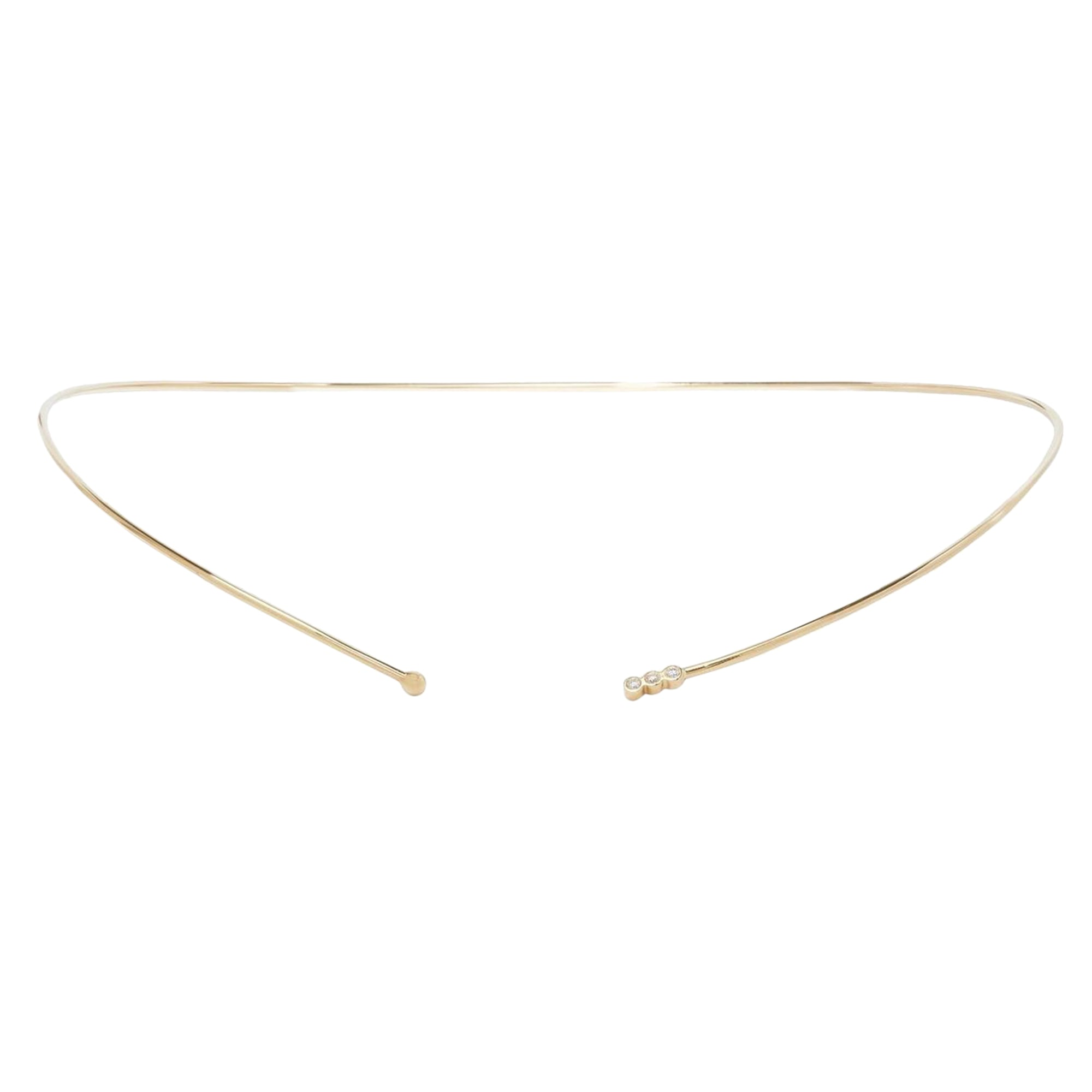 Gold & White Diamond 3 Bezel Choker by Jennie Kwon for Broken English Jewelry