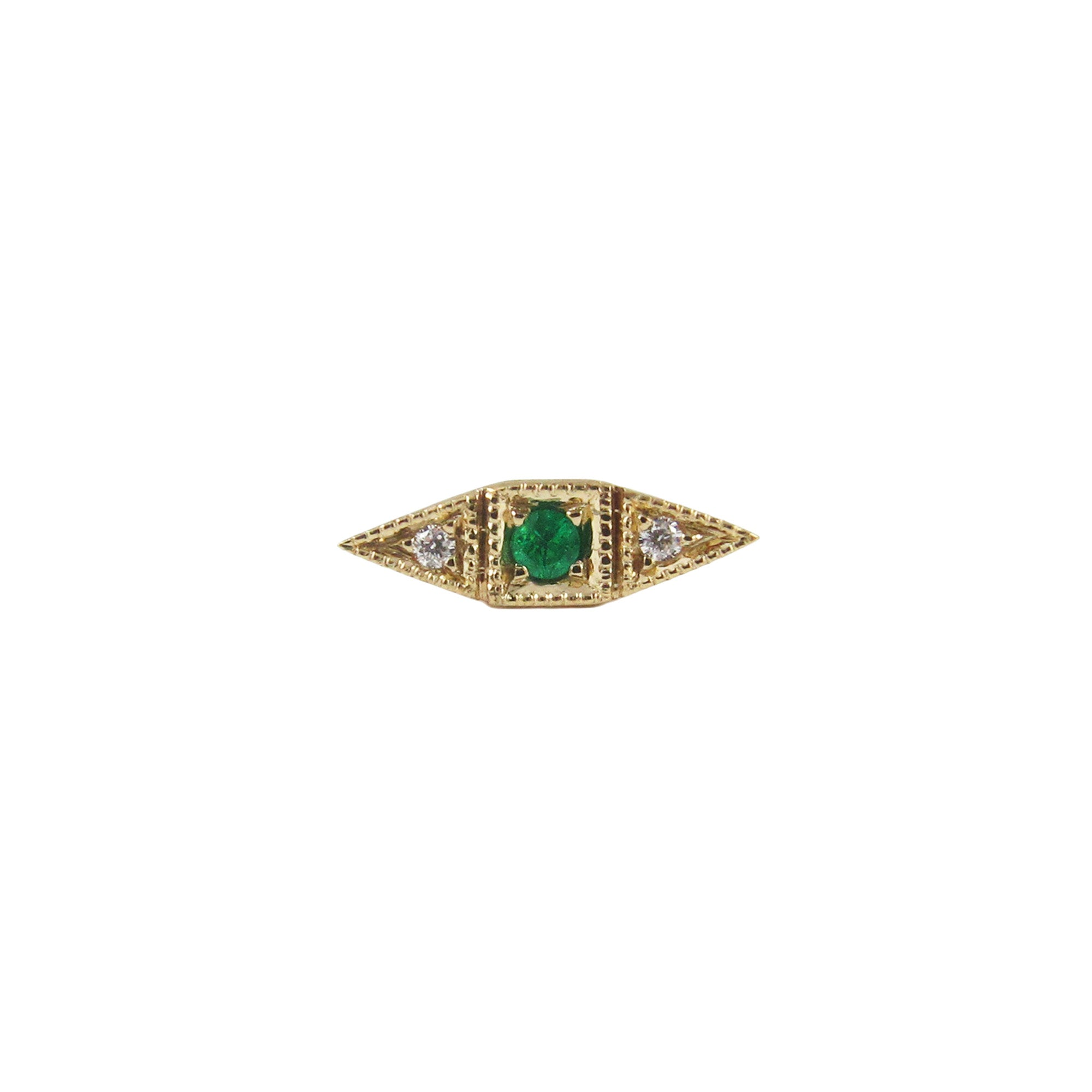 Gold Emerald & White Diamond Deco Point Long Stud by Jennie Kwon for Broken English Jewelry