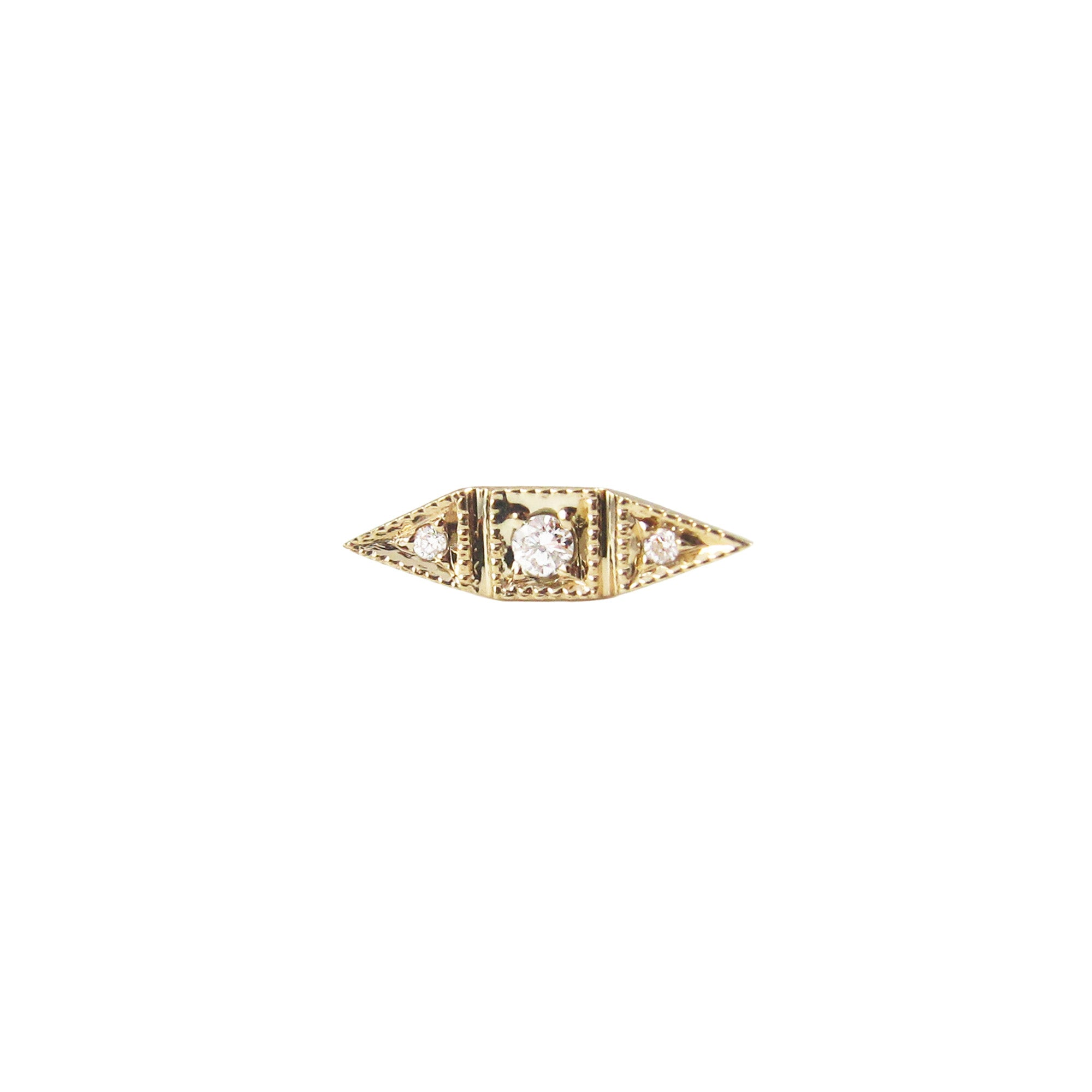 Gold White Diamond Deco Diamond Point Long Stud by Jennie Kwon for Broken English Jewelry