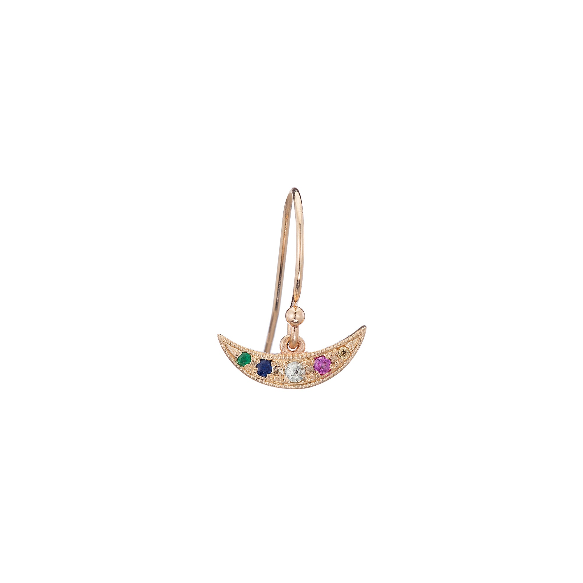 Gold & Rainbow Sapphire Balance Earring by Jennie Kwon for Broken English Jewelry
