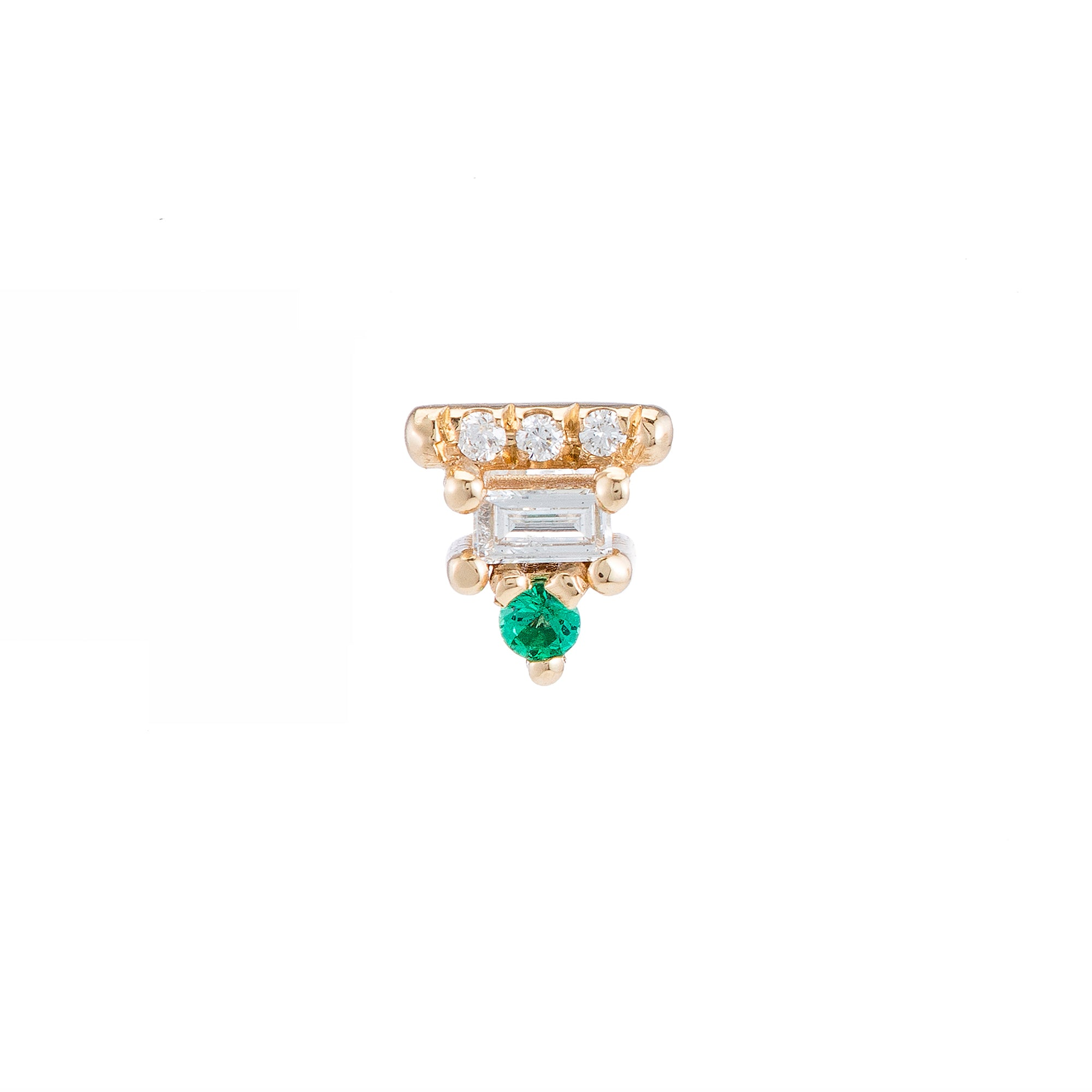 Emerald Baguette Bar Stud by Jennie Kwon for Broken English Jewelry