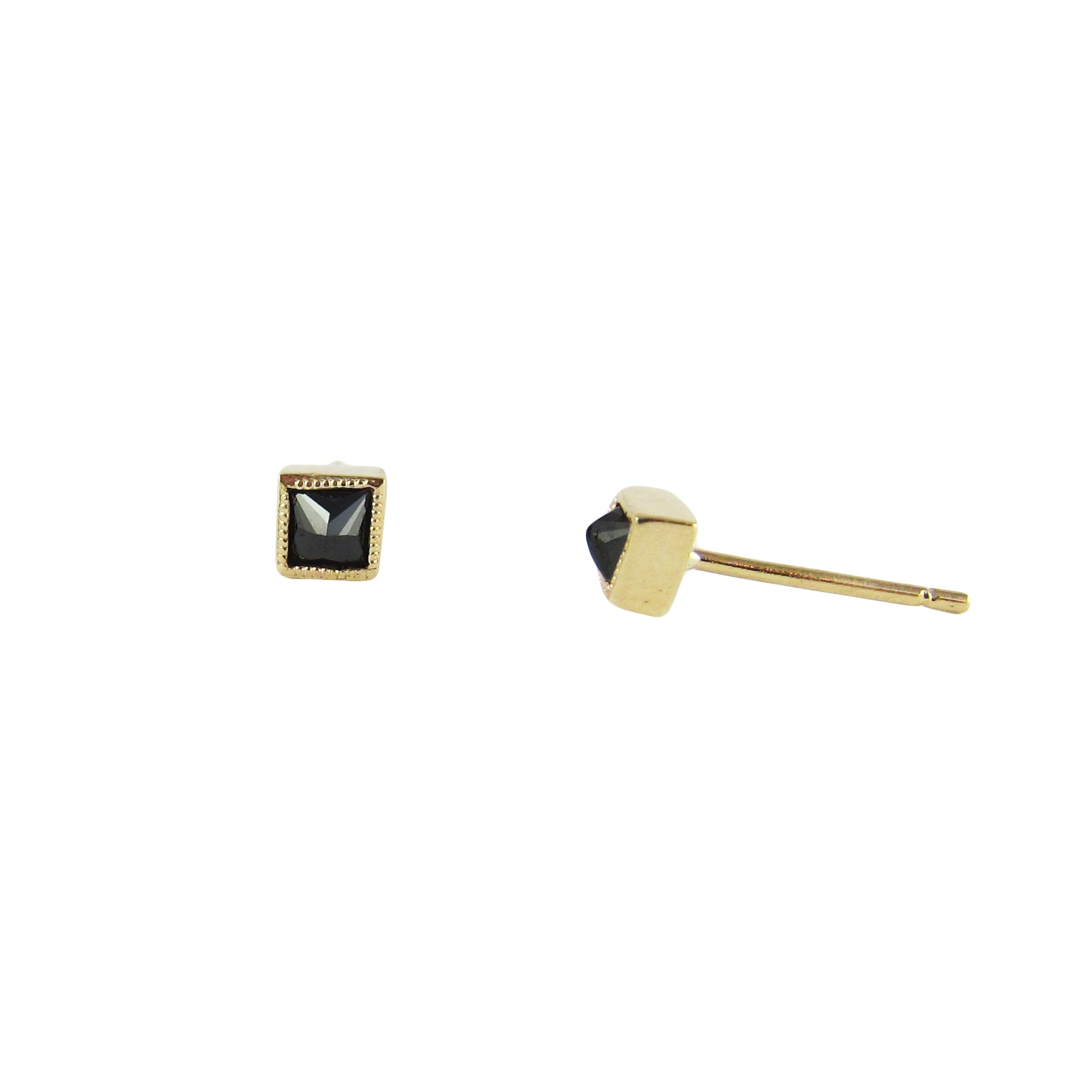 Square Black Diamond Earrings - Jennie Kwon - Earrings | Broken English Jewelry