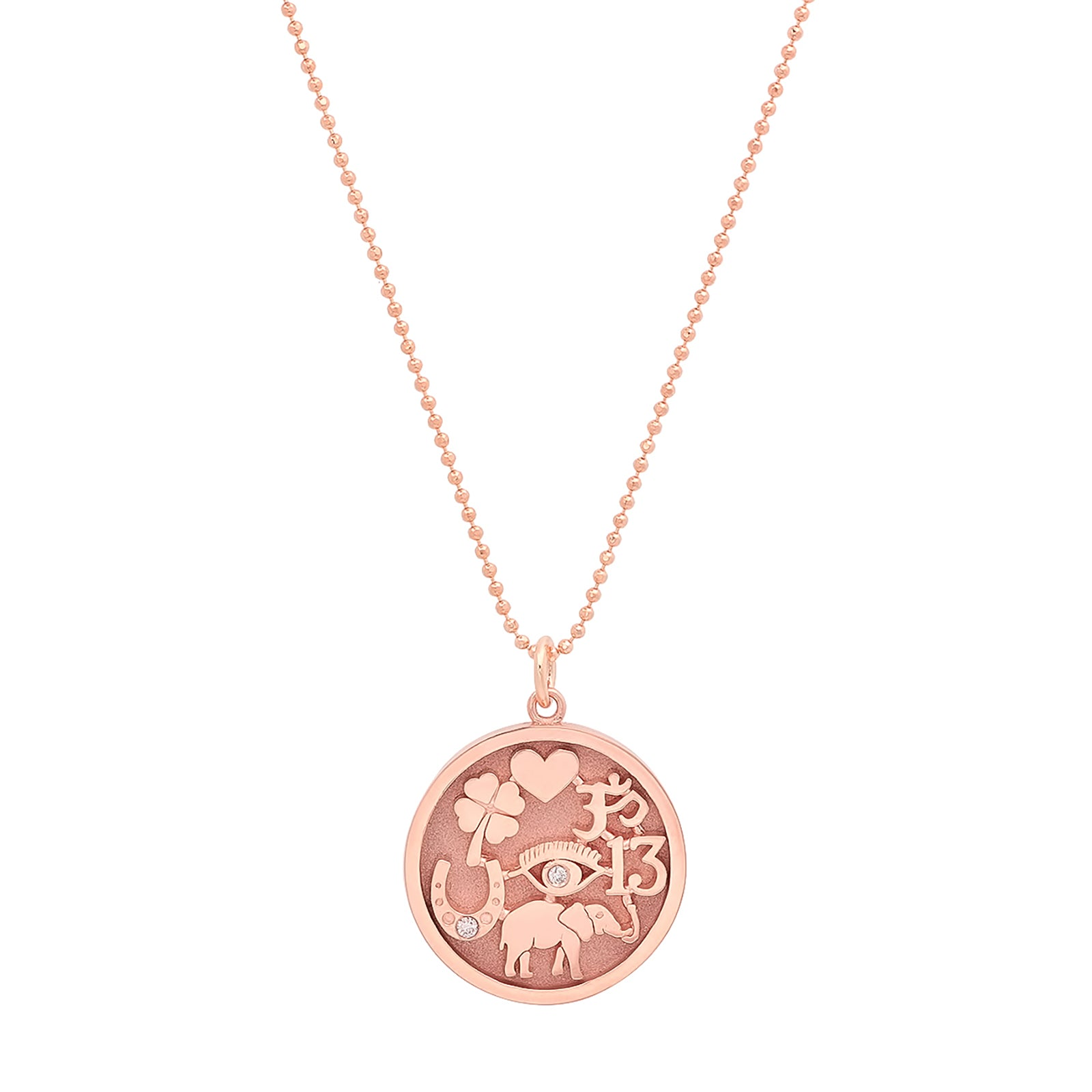 Jennifer Meyer Good Luck Pendant Necklace - Rose Gold - Necklaces - Broken English Jewelry