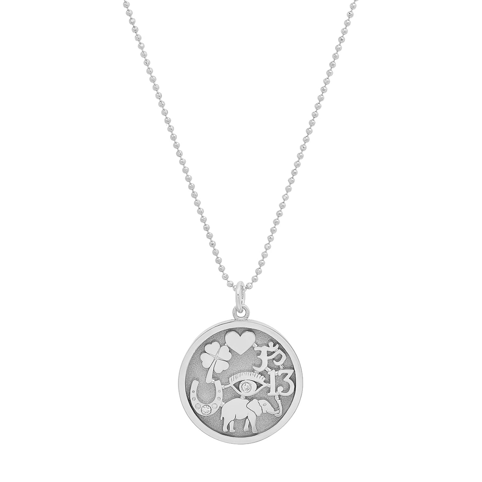 Jennifer Meyer Good Luck Pendant Necklace - White Gold - Necklaces - Broken English Jewelry