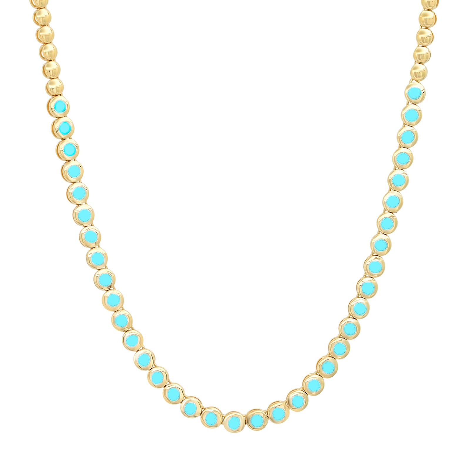 Jennifer Meyer Mini Bezel Tennis Necklace - Turquoise - Necklaces - Broken English Jewelry
