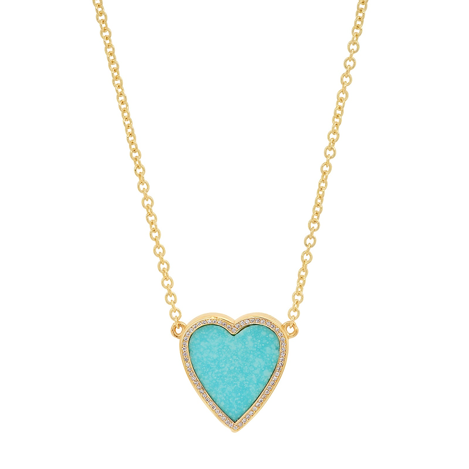 Jennifer Meyer Heart Pendant Necklace - Turquoise - Necklaces - Broken English Jewelry