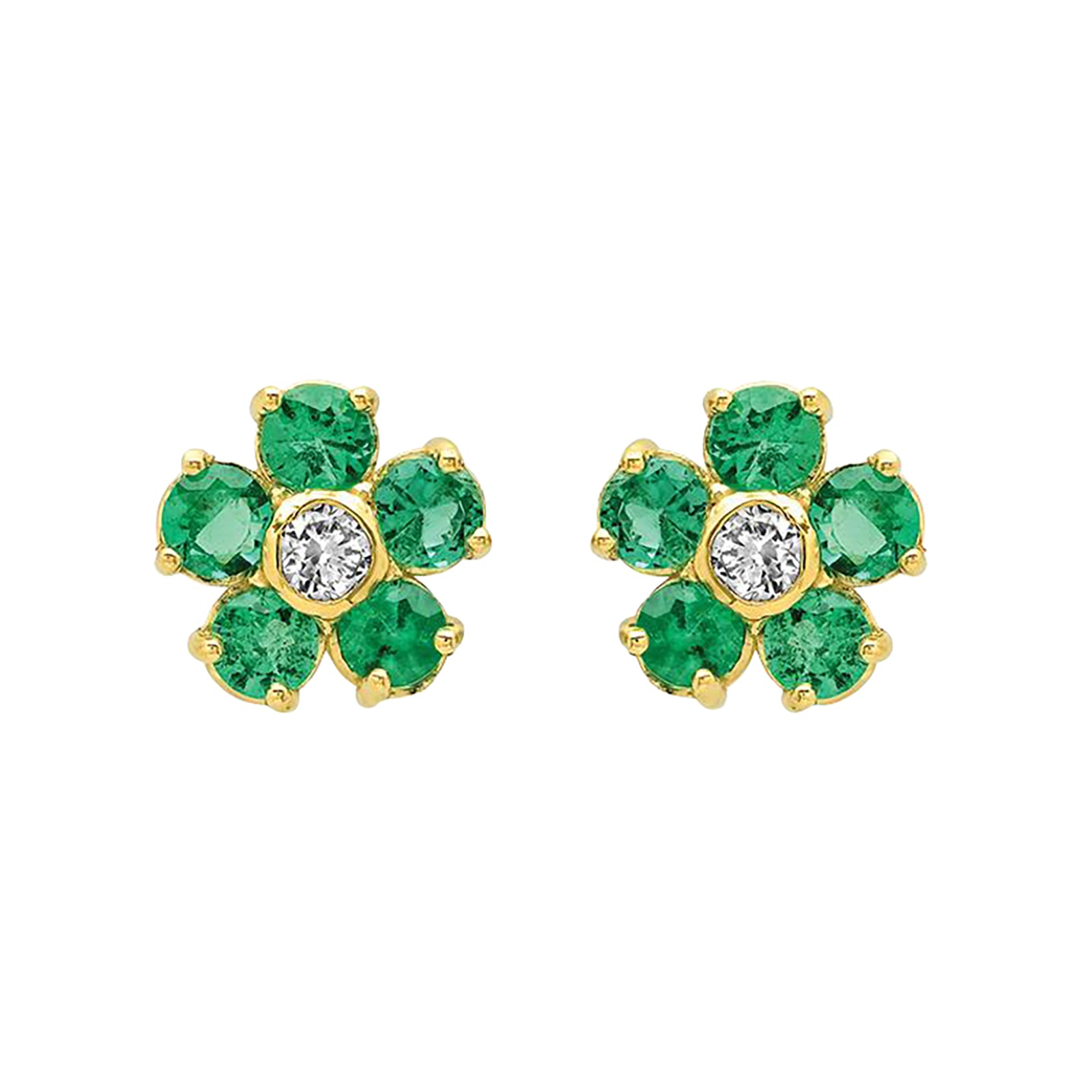 Large Flower Studs - Emerald