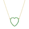 Jennifer Meyer Open Heart Necklace - Emerald - Necklaces - Broken English Jewelry