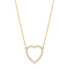 Jennifer Meyer Open Heart Necklace - White Diamond & Yellow Gold - Necklaces - Broken English Jewelry