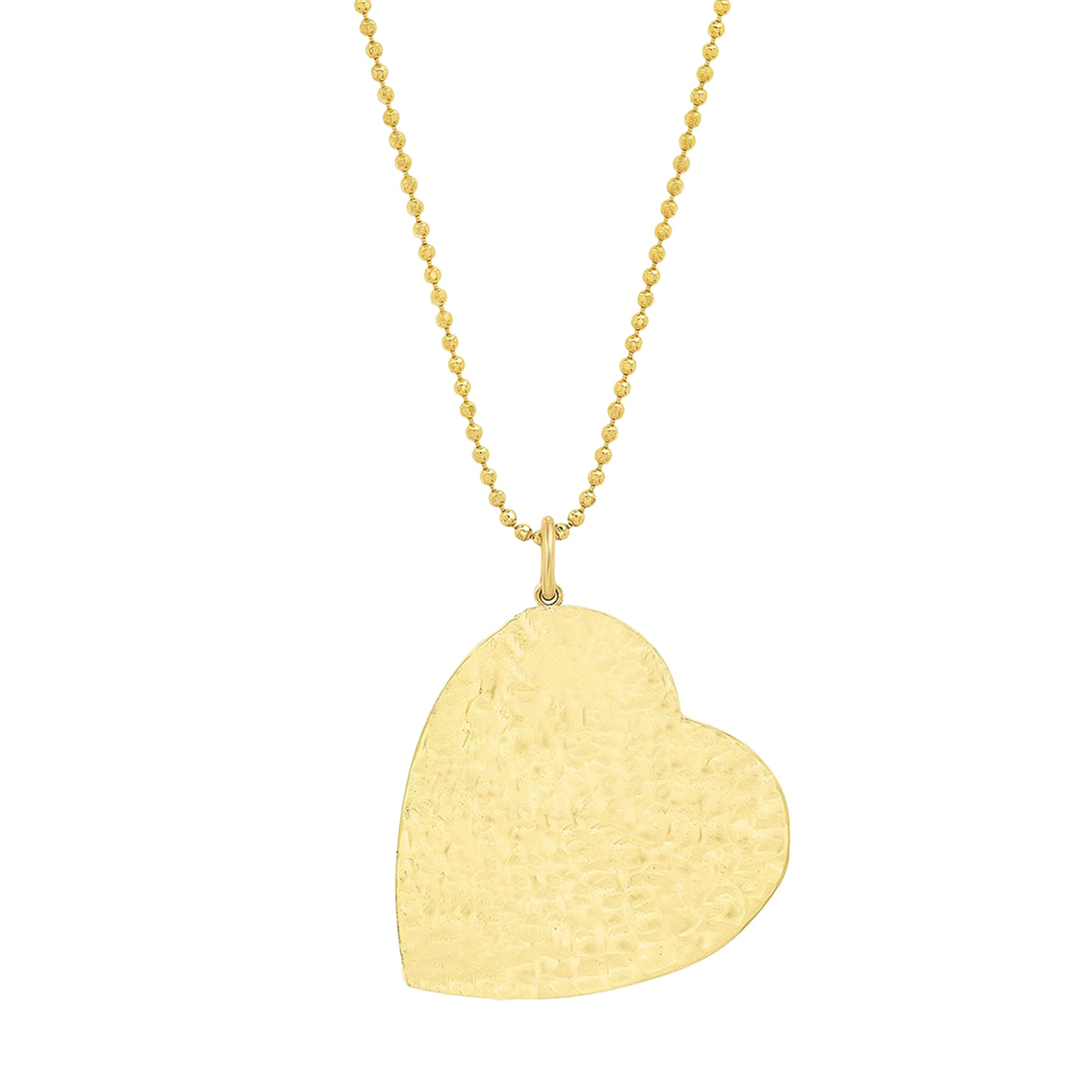 Jennifer Meyer Hammered Heart Pendant Necklace - Large - Necklaces - Broken English Jewelry