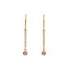Jennifer Meyer Mini Diamond Stick Drop Earrings - Pink Sapphire - Earrings - Broken English Jewelry