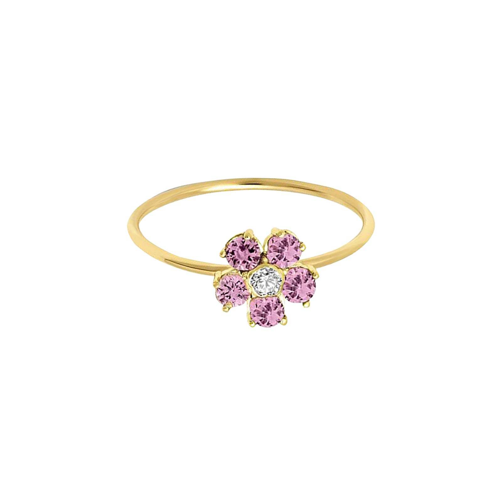 Jennifer Meyer Large Flower Ring - Pink Sapphire - Rings - Broken English Jewelry