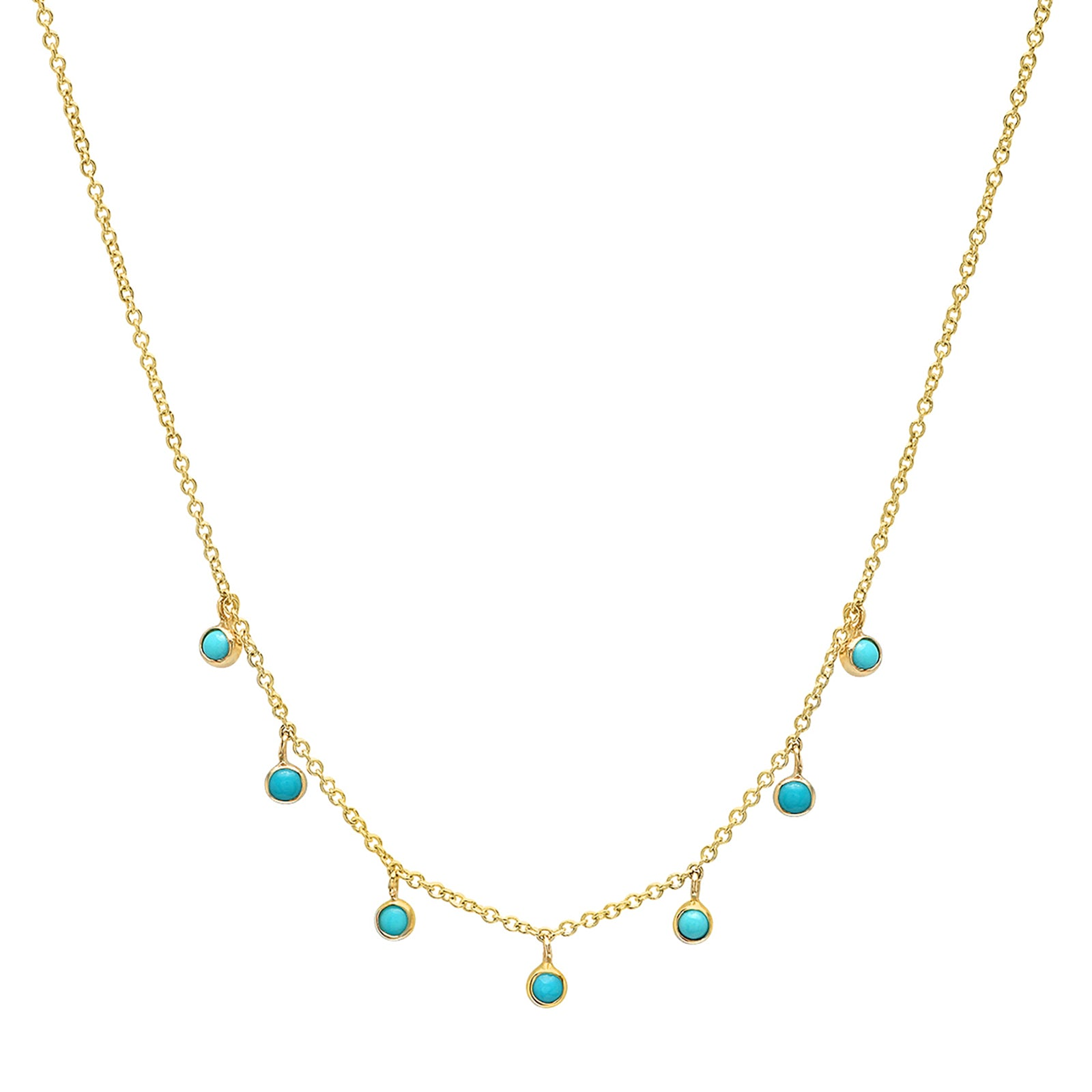 Jennifer Meyer Mini Bezel Dangle Necklace - Turquoise - Necklaces - Broken English Jewelry