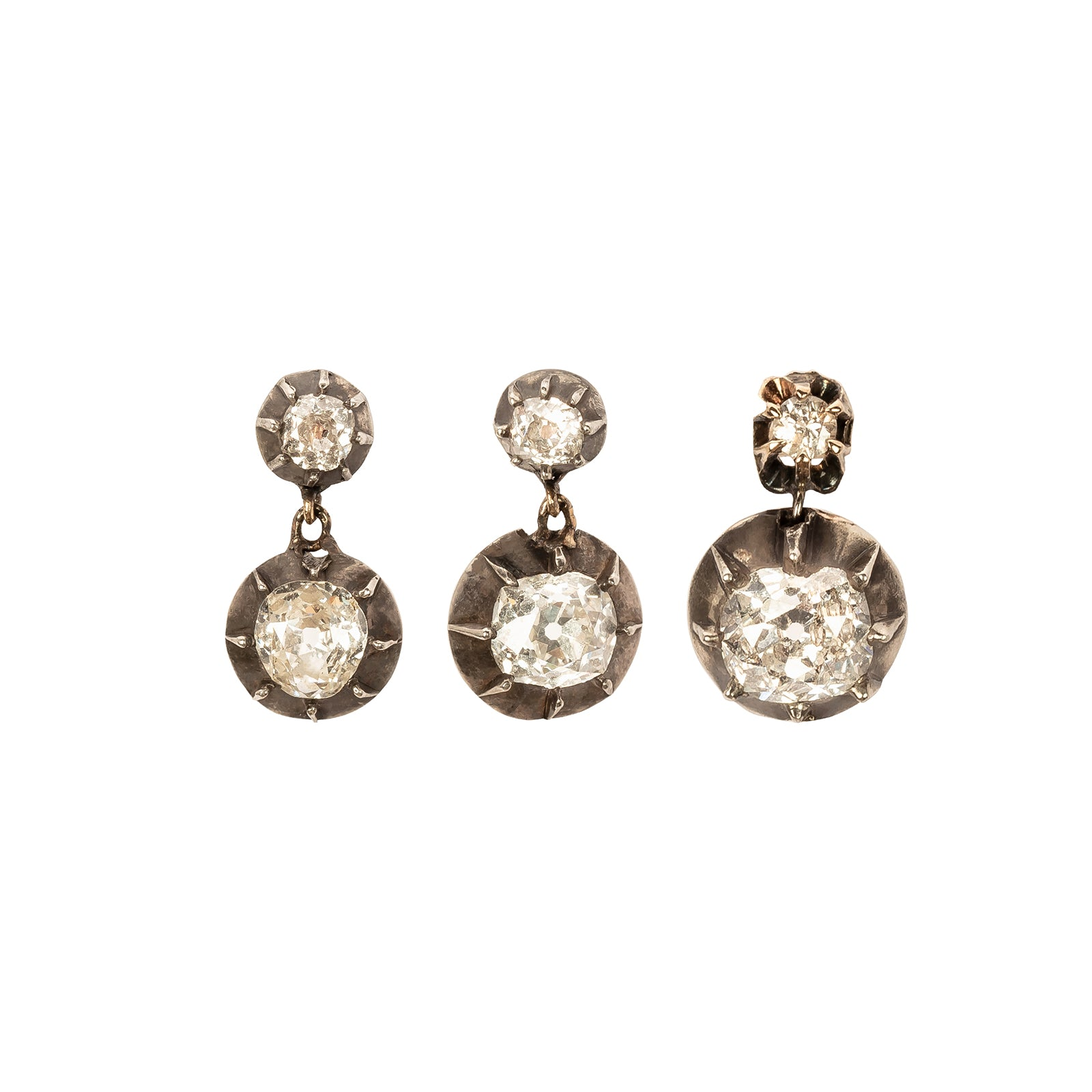 Jenna Blake Set of Three Old Mine Cut Diamond Earrings - Earrings - Broken English Jewelry