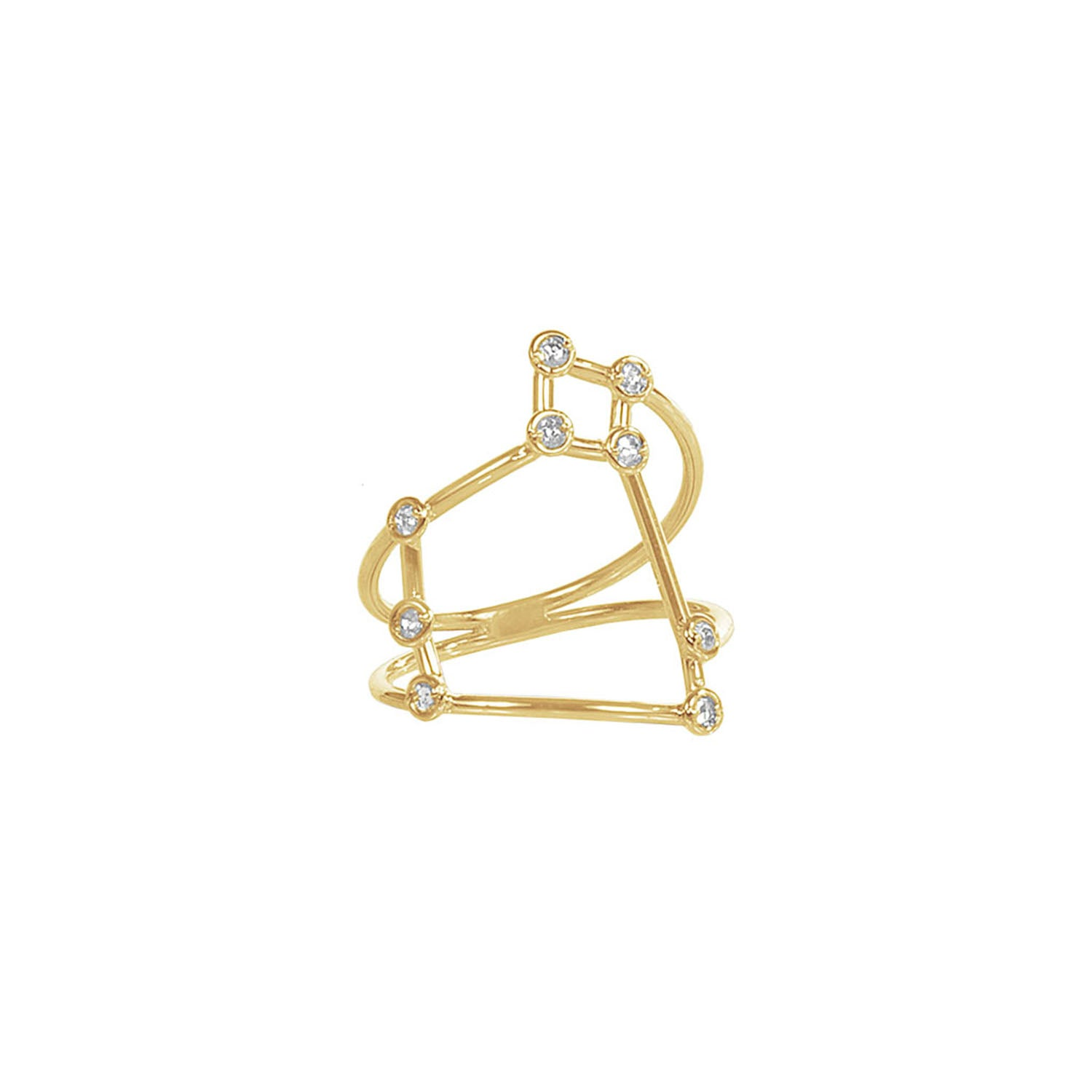 Gold & White Diamond Sagittarius Constellation Ring by Jessie Ve for Broken English Jewelry