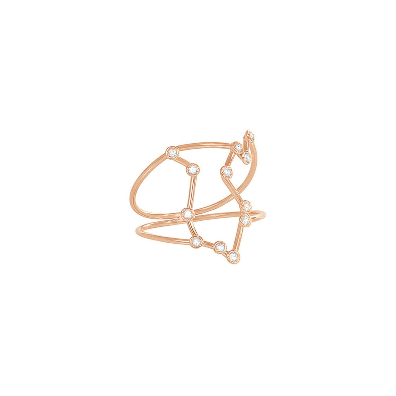 Gold & White Diamond Aquarius Constellation Ring by Jessie Ve for Broken English Jewelry